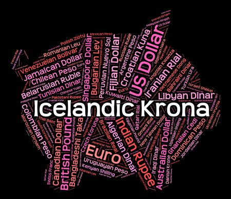 currency exchange: Icelandic Krona Representing Currency Exchange And Words