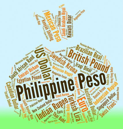peso: Philippine Peso Indicating Exchange Rate And Wordcloud