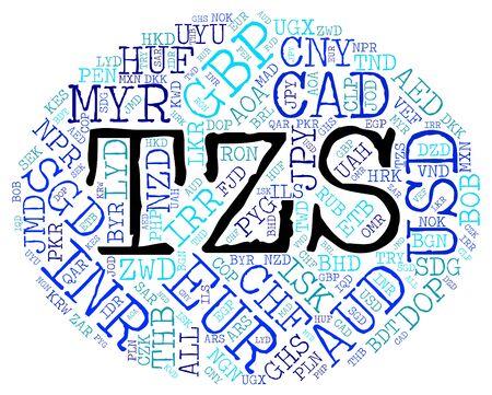 shilling: Tzs Currency Showing Tanzanian Shillings And Wordcloud