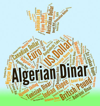 dinar: Algerian Dinar Indicating Worldwide Trading And Word