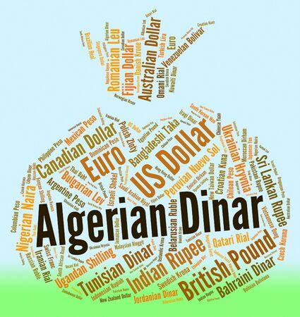 Algierski: Dinar algierski Wskazanie Worldwide Trading i słowo Zdjęcie Seryjne