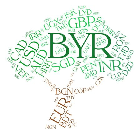 foreign exchange: Byr Currency Representing Foreign Exchange And Word