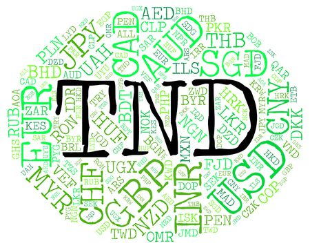 coinage: Tnd Currency Indicating Tunisia Dinar And Coinage Stock Photo