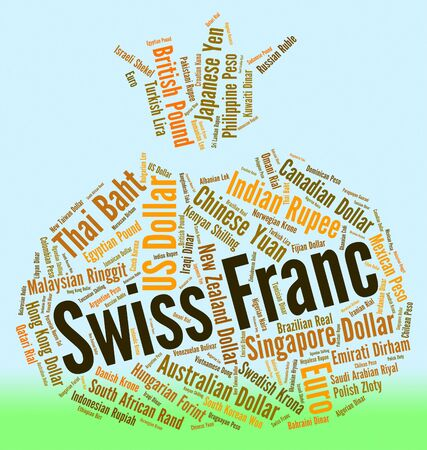 foreign currency: Swiss Franc Representing Foreign Currency And Banknotes Stock Photo