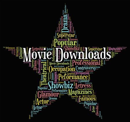 downloaded: Movie Downloads Indicating Movies And Word