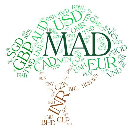 dirham: Mad Currency Representing Morocco Dirham And Wordcloud Stock Photo