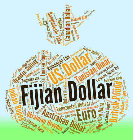 coinage: Fijian Dollar Representing Exchange Rate And Banknote Stock Photo