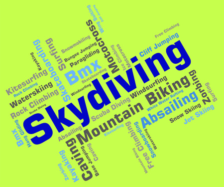 freefall: Skydiving Word Representing Parachute Jump And Skydivers Stock Photo