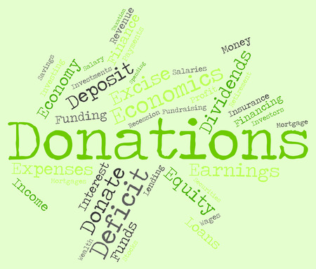 contributes: Donation Word Showing Donate Contributes And Support