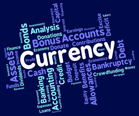 coinage: Currency Word Showing Worldwide Trading And Broker