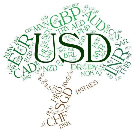 usd: Usd Currency Meaning United States Dollar And Exchange Rate Stock Photo