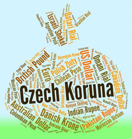 czech republic coin: Czech Koruna Showing Worldwide Trading And Wordcloud