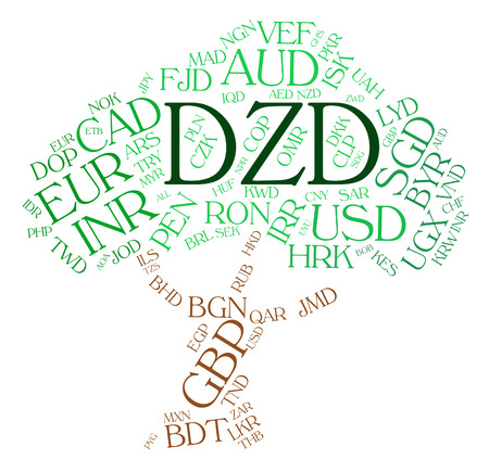 dinar: Dzd Currency Showing Forex Trading And Algerian