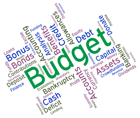 budgets: Budget Words Meaning Accounting Budgets And Wordcloud Stock Photo