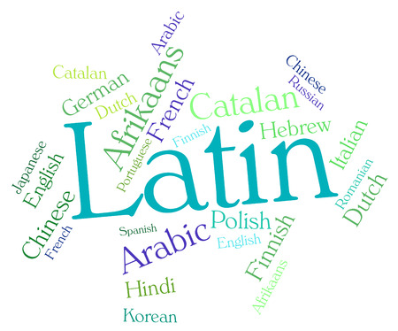 latin language: Latin Language Indicating Words Languages And Communication Stock Photo