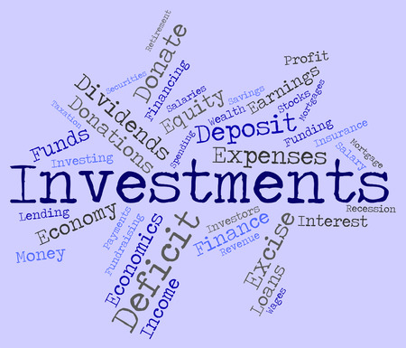 buy shares: Investments Word Showing Shares Wordcloud And Portfolio