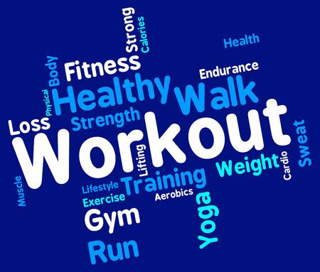 aktywność fizyczna: Workout wyrazy reprezentujące aktywności fizycznej i ćwiczeń Zdjęcie Seryjne