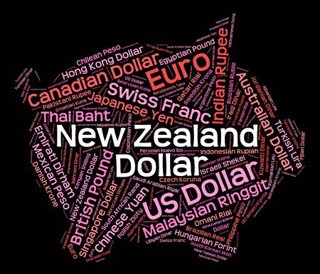 foreign exchange: New Zealand Dollar Showing Foreign Exchange And Banknotes