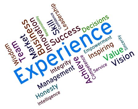 proficient: Experience Words Indicating Know How And Proficiency Stock Photo