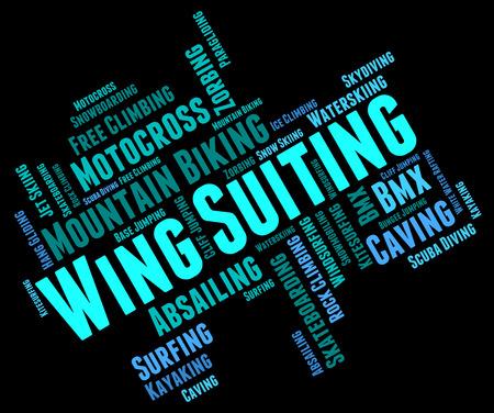 caida libre: Ala Suiting Mostrando Sky Diver Divingsky Y salto de paraca�das Foto de archivo