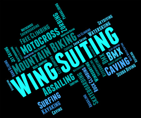 parachute jump: Wing Suiting Showing Sky Divingsky Diver And Parachute Jump Stock Photo