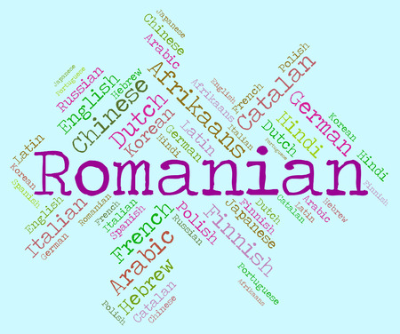 Romanian Language Representing Translate Wordcloud And Vocabulary