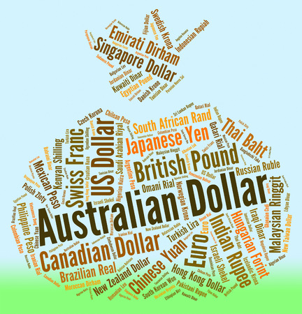 currency exchange: Australian Dollar Representing Currency Exchange And Words