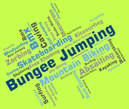 puenting: Bungee Jumping Indicando Xtreme Palabra Y Wordcloud