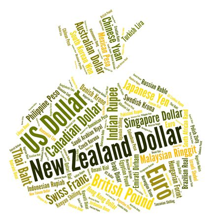 coinage: New Zealand Dollar Showing Worldwide Trading And Market