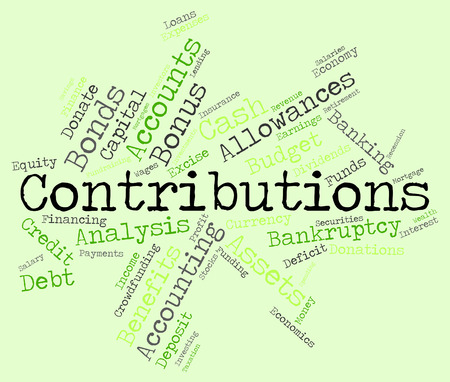 contributes: Contributions Word Meaning Give Contributes And Volunteer Stock Photo