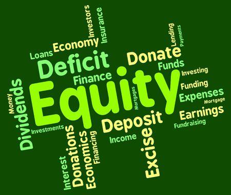 equity: Equidad Palabra Indicando Recursos activos y Riqueza