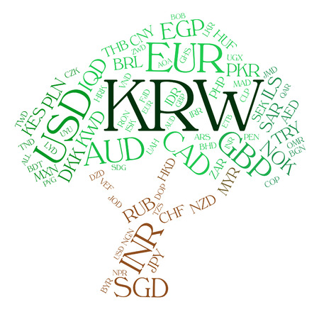 Krw Currency Representing South Korean Won And South Korean Wons