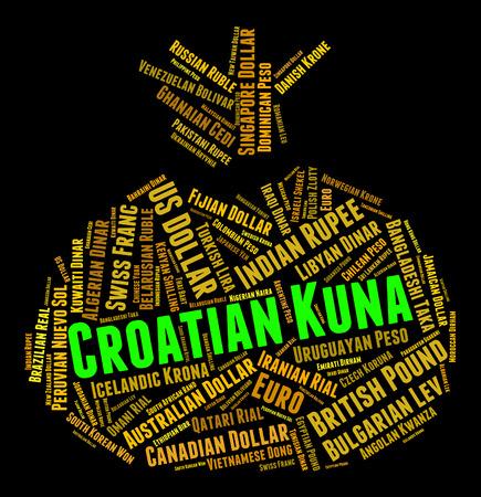 currency exchange: Croatian Kuna Indicating Currency Exchange And Coinage Stock Photo