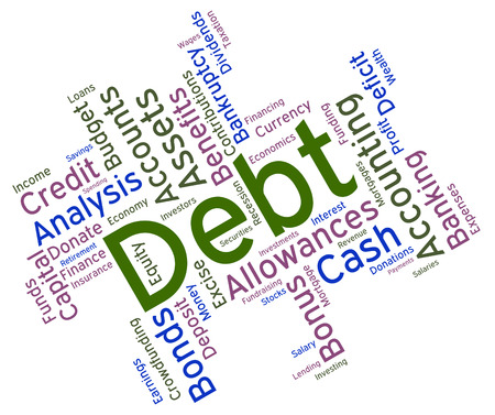 indebtedness: Debt Obligation Word Mostrando e passivit� finanziarie Archivio Fotografico
