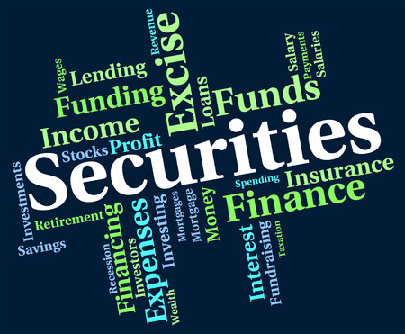 indebt: Securities Word Meaning Financial Obligation And Bonds Stock Photo