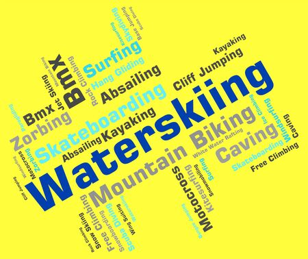 watersports: Waterskiing Word Meaning Wordcloud Text And Waterskiers