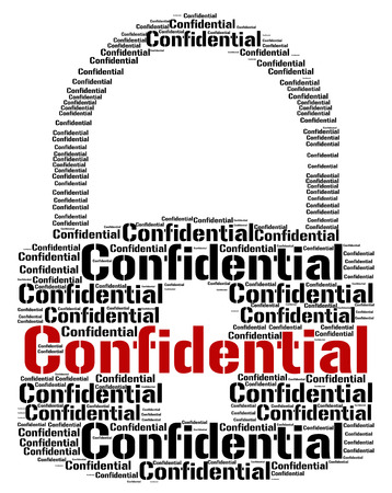 sigilo: Fechamento Confidencial Indicando Secrecy Proibida e palavras