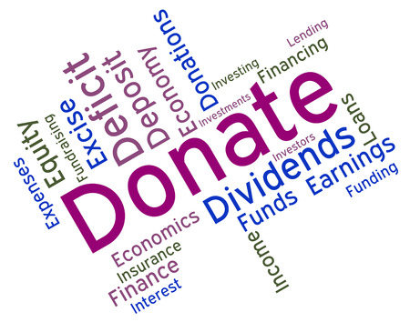 contributes: Donate Word Showing Supporter Give And Text Stock Photo
