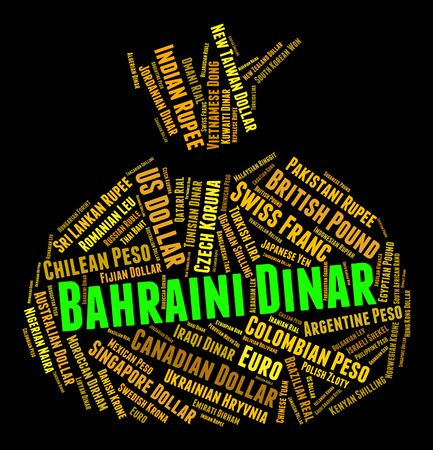 bahrain money: Bahraini Dinar Indicating Foreign Exchange And Word