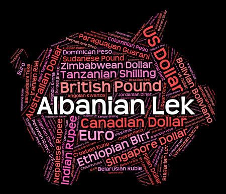 albanian: Albanian Lek Indicating Worldwide Trading And Exchange