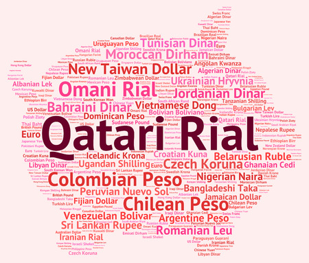 exchange rate: Qatari Rial Representing Exchange Rate And Market Stock Photo