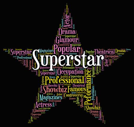 heros: Superstar Word Representing Hero Vip And Wordcloud Stock Photo