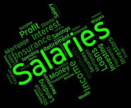 remuneraciones: Salarios Palabra Representando estipendio Texto Y Dinero