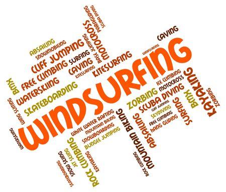 windsurf: Windsurf Palabra En representaci�n de embarque de la vela y windsurf Foto de archivo