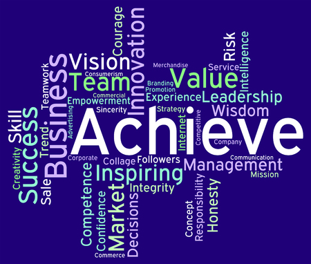 achieving: Achieve Words Indicating Victory Victorious And Achieving Stock Photo