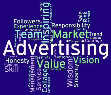 promotional: Wordcloud Advertising Indicating Ads Promotional And Promoting Stock Photo