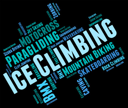 ice climbing: Ice Climbing Indicating Text Ice-Climber And Mountaineering Stock Photo