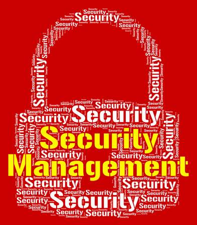 managing: Security Management Representing Wordcloud Privacy And Managing Stock Photo