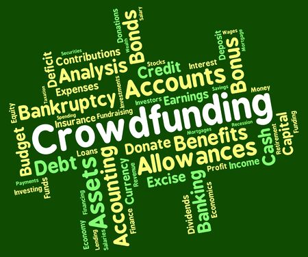 ventures: Crowdfunding Word Meaning Raising Funds And Venture