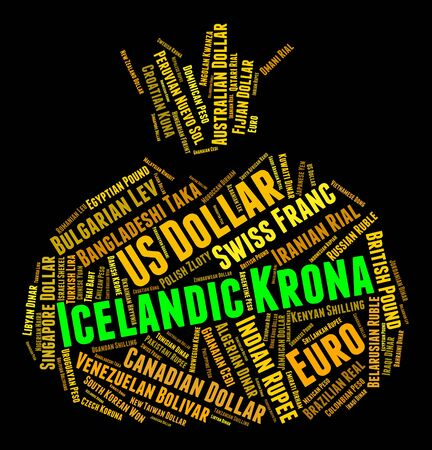 forex trading: Icelandic Krona Indicating Forex Trading And Words